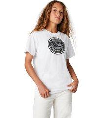 converse camiseta de manga corta center front mountain club relaxed para mujer white