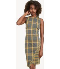 tommy hilfiger women's essential plaid shift dress heather grey / sunshine - 16