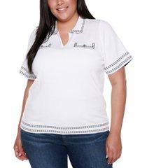 belldini black label plus size collared short sleeve sweater