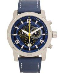 buech & boilat baracchi men's chronograph watch blue leather strap, white stiching, blue/black dial, silver case, 46mm