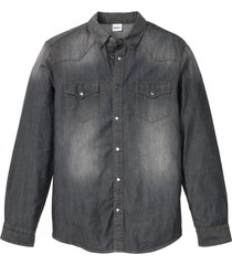 camicia in jeans a maniche lunghe slim fit (grigio) - john baner jeanswear