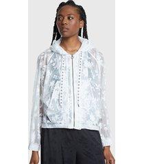 chaqueta desigual burn out jkt white blanco - calce regular