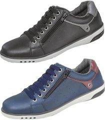 kit sapatênis masculino casual preto e azul com ziper starfox - masculino