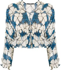 eva silk hibiscus blouse - multicolour