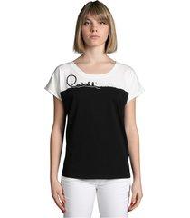 t-shirt bicolore con logo in perle e cannette