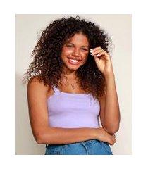 top cropped feminino alça média decote reto lilás