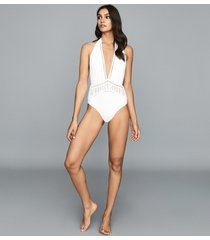 reiss etienne - broderie detail swimsuit in white, womens, size 10