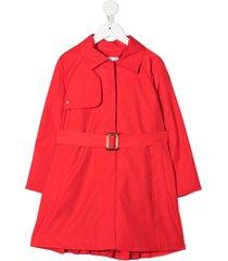 abel & lula belted long-sleeved coat - red