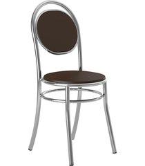 conjunto 2 cadeiras 190 napa cacau cromado móveis carraro marrom
