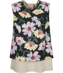 marni rear slit floral print sleeveless top