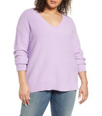 plus size women's caslon v-neck cotton pique sweater, size 1x - purple