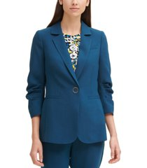 dkny solid ruched-sleeve one-button blazer