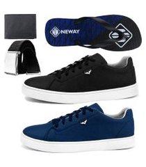 kit sapatenis neway sw preto e azul + chinelo neway + cinto + carteira