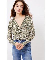 loft leopard print v-neck cardigan