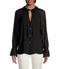 amber chiffon tie-neck blouse