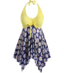 plus size bowknot floral mesh handkerchief tankini swimwear
