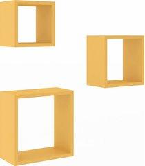 nicho conjunto 3 peças para decoração 3078 amarelo - móvel bento