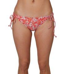 women's o'neill mina piper ditsy bikini bottoms, size large - red