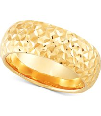 italian gold textured dome statement ring in 14k gold