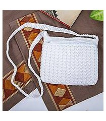 crocheted shoulder bag, 'pure white' (mexico)
