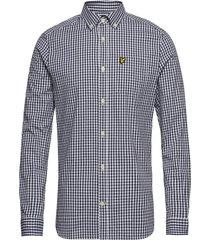 ls slim fit gingham shirt skjorta casual blå lyle & scott