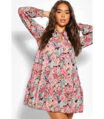 gesmokte bloemenprint jurk, rose
