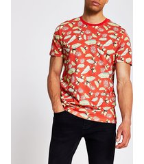 mens jack and jones red printed t-shirt