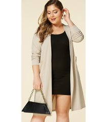 yoins plus size khaki pocket design long sleeves cardigan
