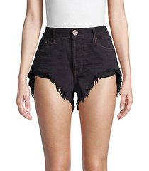rollers high-low denim shorts