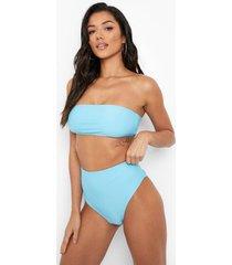 gerecycled bikini broekje met hoge taille, blue