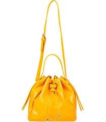 bolsa saco ana hickmann verniz casual com zíper amarelo
