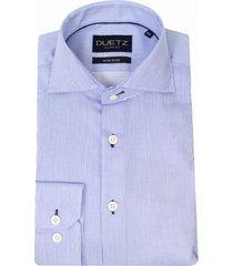 duetz1857 duetz 1857 overhemd dress fijne streep blauw
