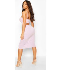 cut out back strappy midi dress, lilac
