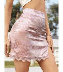 minifalda de cintura alta con ribete de encaje jacquard yoins