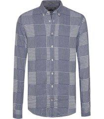 camisa azul  tommy hilfiger patchwork shirt nf3