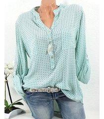 nueva camiseta de manga larga con cuello en v y lunares para mujer.-verde