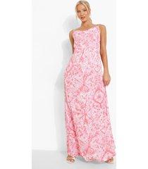 zwangerschap tie dye maxi jurk met waterval hals, coral
