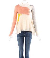stella mccartney multicolor wool knit draped sweater cream/multicolor sz: xs