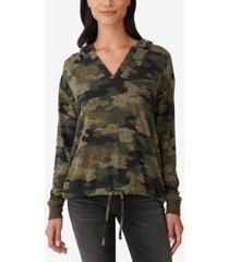 lucky brand camo-print drawstring-hem hoodie