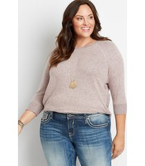 maurices plus size womens solid brushed round hem pullover pink