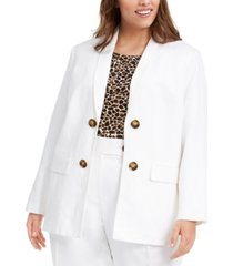 calvin klein plus size double-breasted open-front blazer