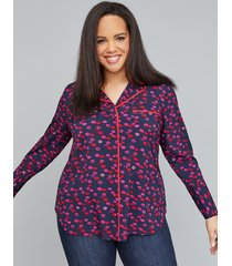 lane bryant women's pj blouse 14 medium lipstick memories