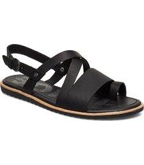 ella™ criss cross shoes summer shoes flat sandals svart sorel