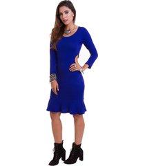 vestido manola vazado na lateral azul bic