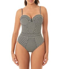 skinny dippers women's busta move one-piece swimsuit - black - size l