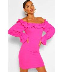 bodycon mini-jurk met geplooid detail en ontblote schouders, warm roze