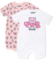 moschino pink teddy logo romper
