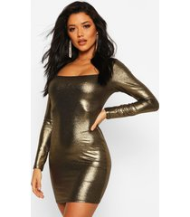 long sleeve square bodycon mini dress, gold