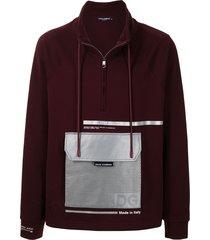 dolce & gabbana patch-pocket zip-up sweatshirt - red