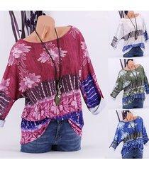camicetta a maniche lunghe con stampa floreale patchwork per le donne